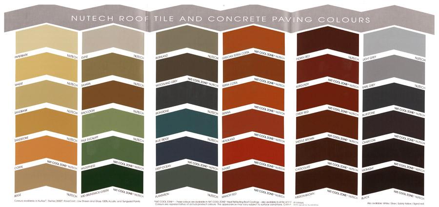 Nutech Paint Colour Chart